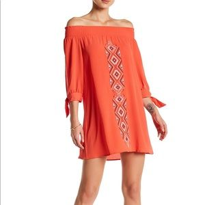Coral off-the-shoulder dress, XS